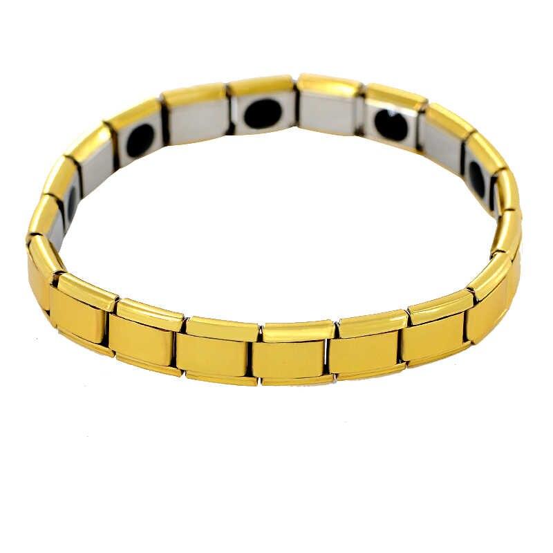 צבע זהב האופנה ניו נירוסטה ביו יון Nagetive הולוגרמה כוח מגנטי בריאות אנרגיה צמיד לנשים גברים SL-491