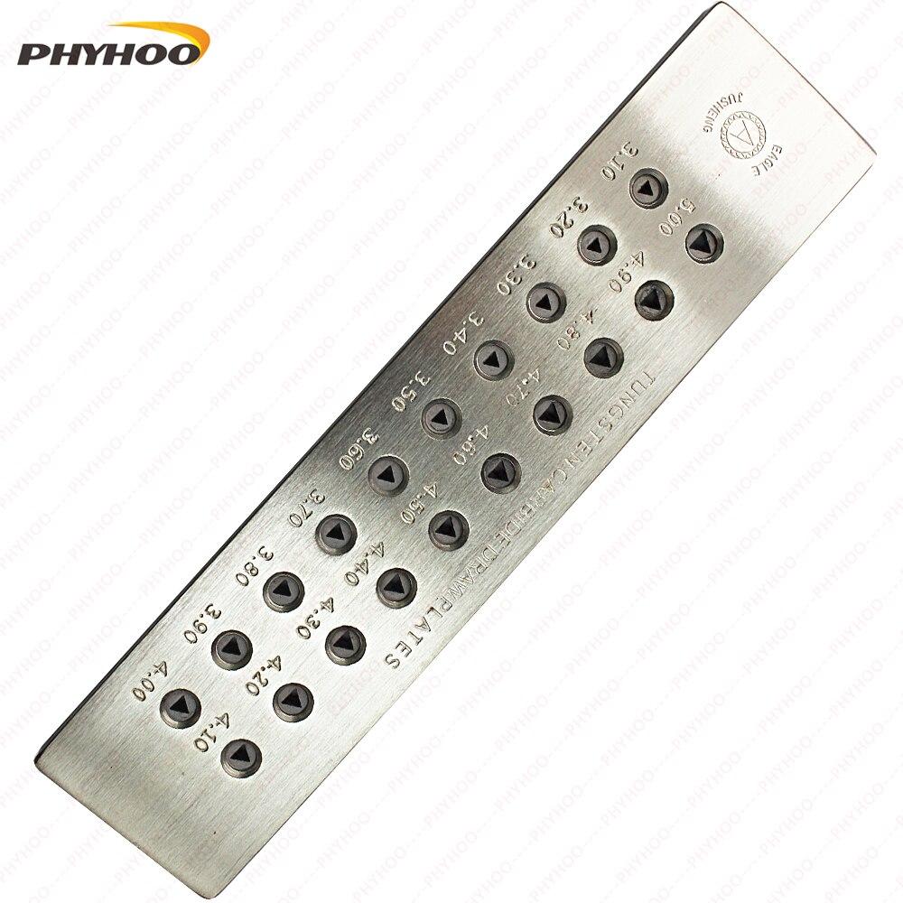 Carbure de tungstène tirettes forme Triangle fil timon bijoux fabrication outils trou taille 1.00-3.00mm/3.10-5.00mm 20 trous