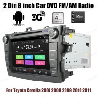 Android 4.4 Car DVD stereo player touch screen 2 Din 8 inch BT GPS wifi radio for Toyota Corolla 2007 2008 2009 2010 2011