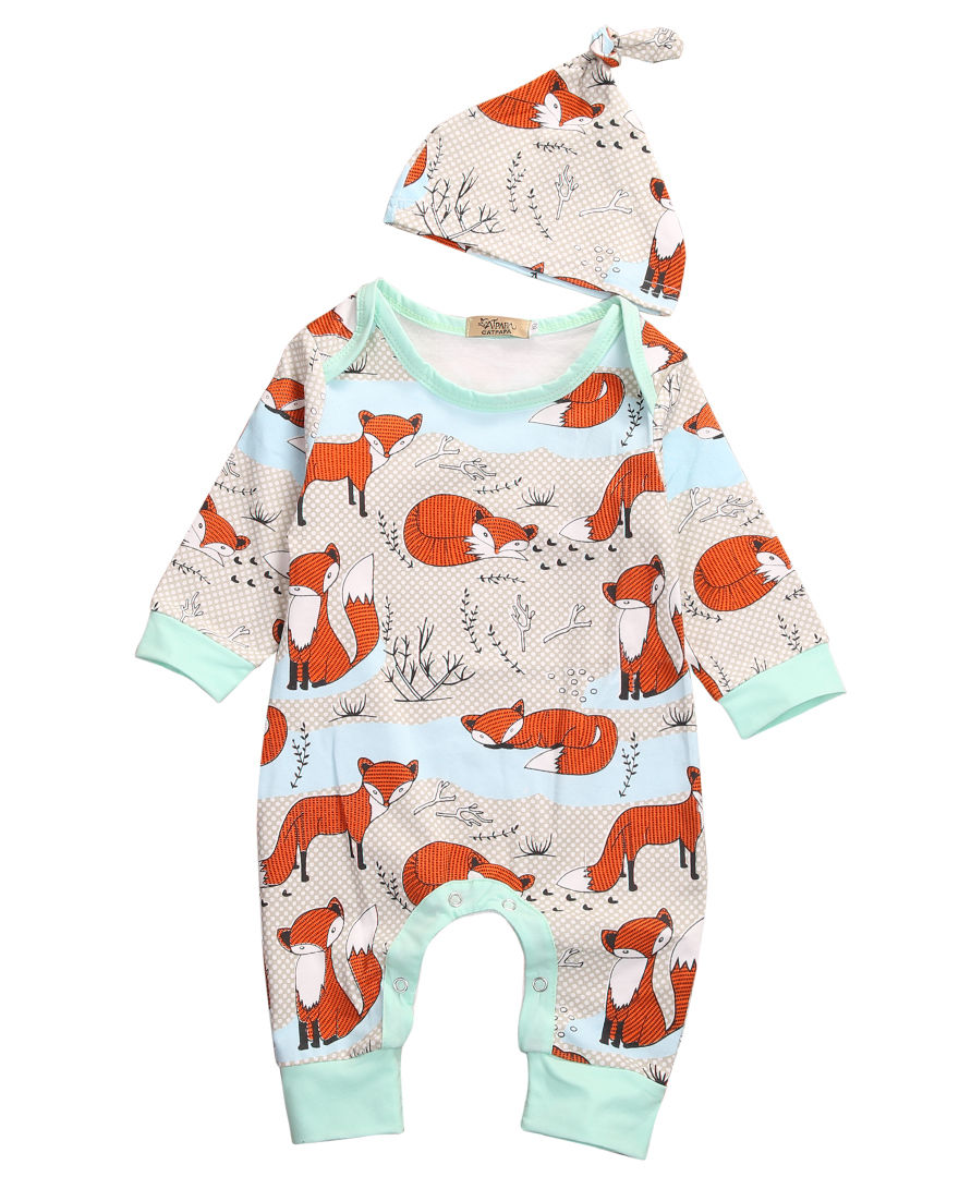 Cotton Newborn Infant Baby Boy Girls Romper Jumpsuit Fox Long Sleeve Cotton Romper+Hat Clothes 2pcs Outfits cotton newborn infant baby boys girls clothes rompers long sleeve cotton jumpsuit clothing baby boy outfits