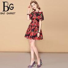 Baogarret 2019 Fashion Runway Holiday Summer Dress Womens Spaghetti Strap Ruffles Floral Print Vintage Elegant