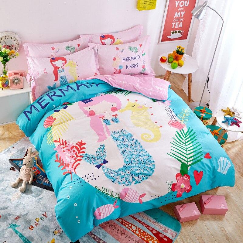 Cartoon Style Mermaid Print Blue Bedding Sets 100 Cotton