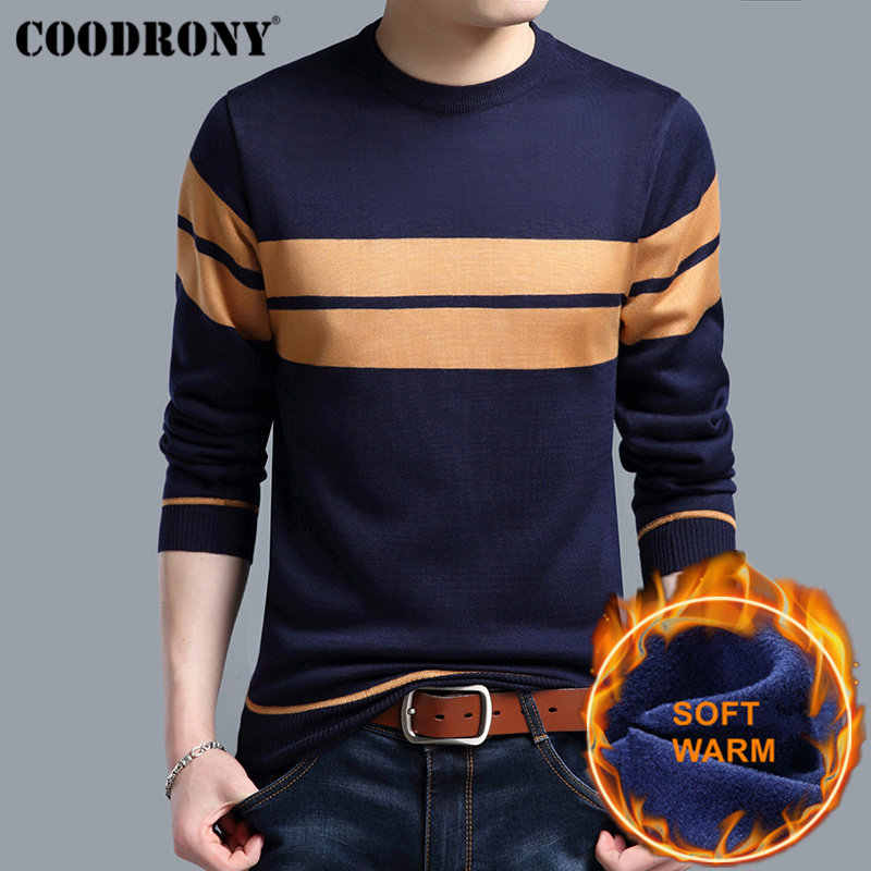 COODRONY Thick Warm Cotton Liner O-Neck Pull Homme Christmas Sweater Men Winter Wool Mens Sweaters 2019 Casual Pullover Men H018