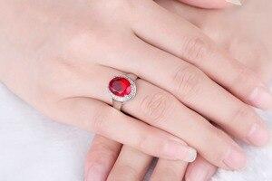 Image 3 - DOUBLE R Sterling Silver Bạc Nhẫn đối với Phụ Nữ 2.65ct Hình Bầu Dục Tạo Của Ruby Đá Quý Zircon 925 Engagement Ring