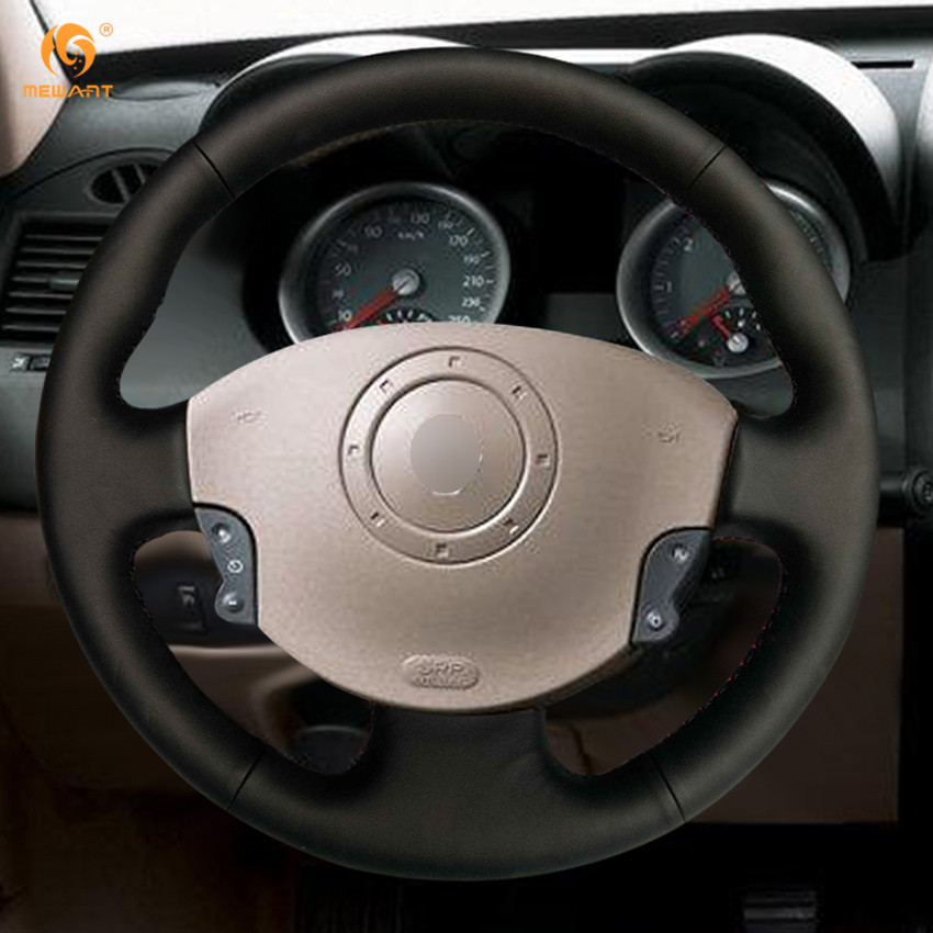 black artificial leather car steering wheel cover for renault megane 2 2003 2008 kangoo 2008. Black Bedroom Furniture Sets. Home Design Ideas