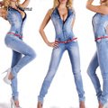 Мода Повседневная Джинсовые Комбинезоны Женщины Сексуальное Denim Комбинезон Без Рукавов Combinaison Femme V-образным Вырезом женщин Комбинезон Боди