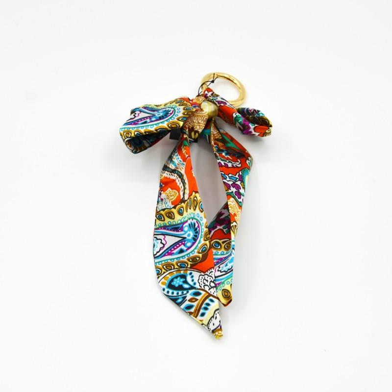 BONAMIE Cashew Flower Hang Decoration Fashion Colorful Polyester Handbag Decoration Silk Scarves Hanging Ornaments 1Pc