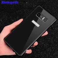 Para Samsung Nota 8 Caso De Luxo Glitter Slim Alumínio Duro Armadura de Proteção À Prova de Choque de Volta Caso de Telefone Armação de Metal + Acrílico cobrir