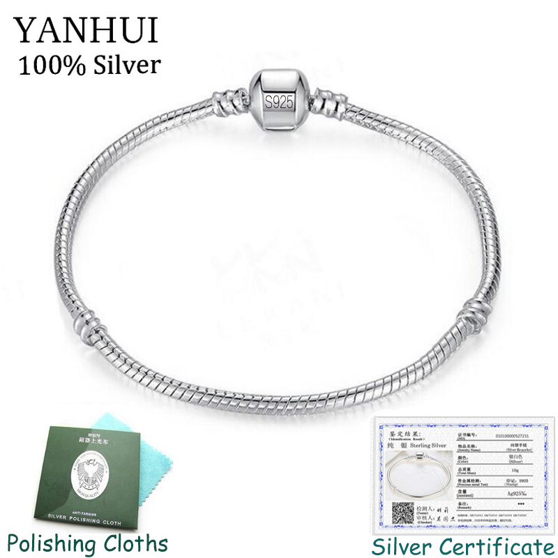 New 925 ® Silver Plate Ladies Girls Square Round Bangles Pandori Charm Bracelets