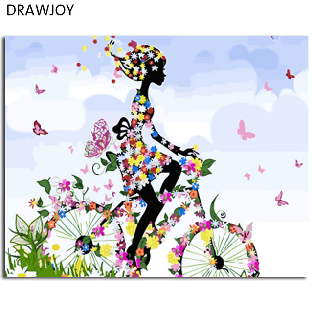 Drawjoy Framed Picture Diy Painting By Numbers Of Flowers Girl Home