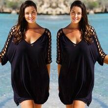 Большие размеры женские с v-образным вырезом открытые купальники пляжная одежда женские бикини пляжная одежда накидка кафтан женские летние черные пляжные платья