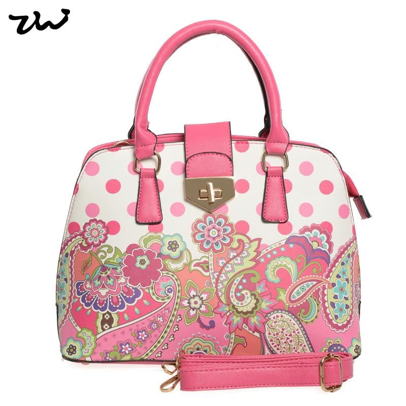ФОТО ZIWI Brand Top Quality Dots Bag Ladies Flower Fashion Pu Leather Handbag For Women  VK1755