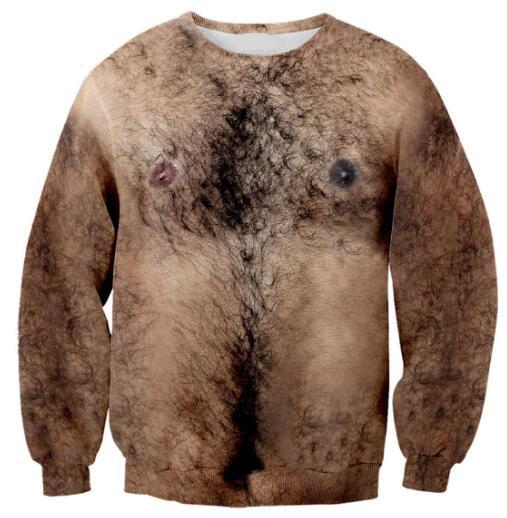 Hairy Chest 3D Sexy Print Sweatshirts Women/Men Spring Autumn Crewneck Hip Hop 3D Graphic Hoodies Hipster Aesthetic Tops Jumper