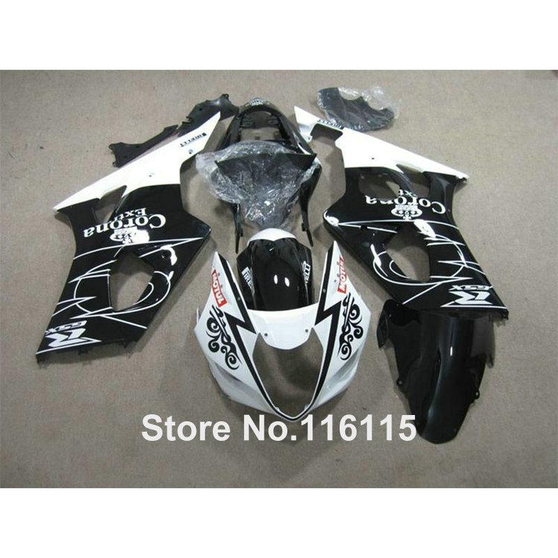 Free customize fairing kit for SUZUK Injection GSXR1000 K3 K4 2003 2004 white black Corona GSXR 1000 03 04 ABS fairings set HX59