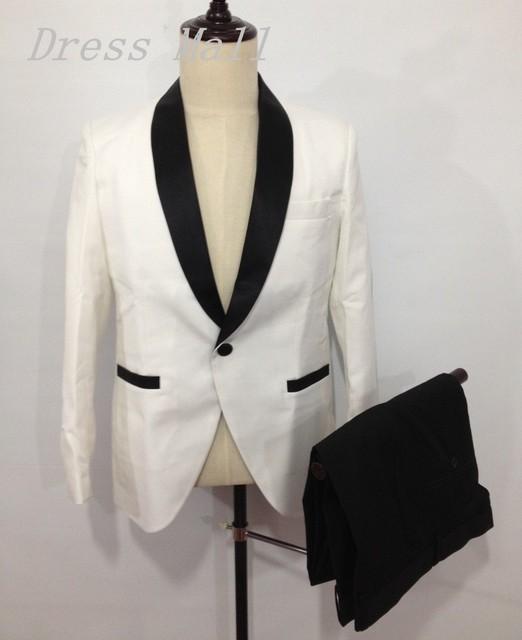 Envío gratis Diseño Único Hombre Blanco Mantón de la Solapa de Un Solo Botón Trajes Esmoquin Padrino de Boda de Los Hombres Trajes