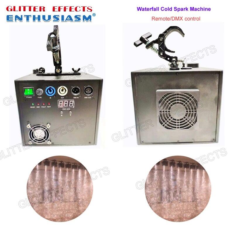 2 unids/lote/dmx profesional y control remoto etapa cascada fría fuente de chispa titanio metal polvo fuego boda máquina