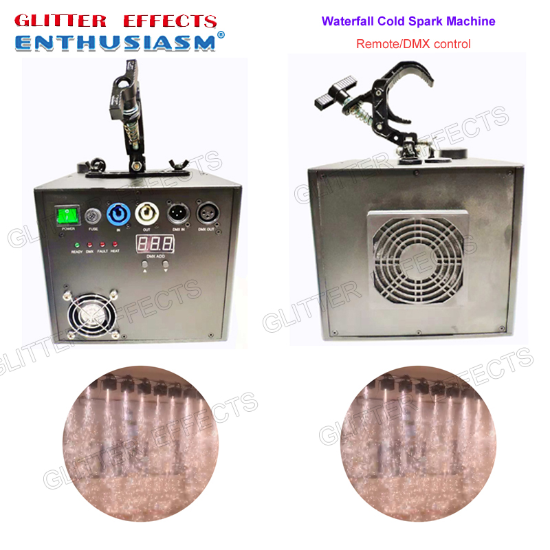 2pcs lot Professional dmx and remote control stage waterfall cold spark fountain titanium metal powder fire