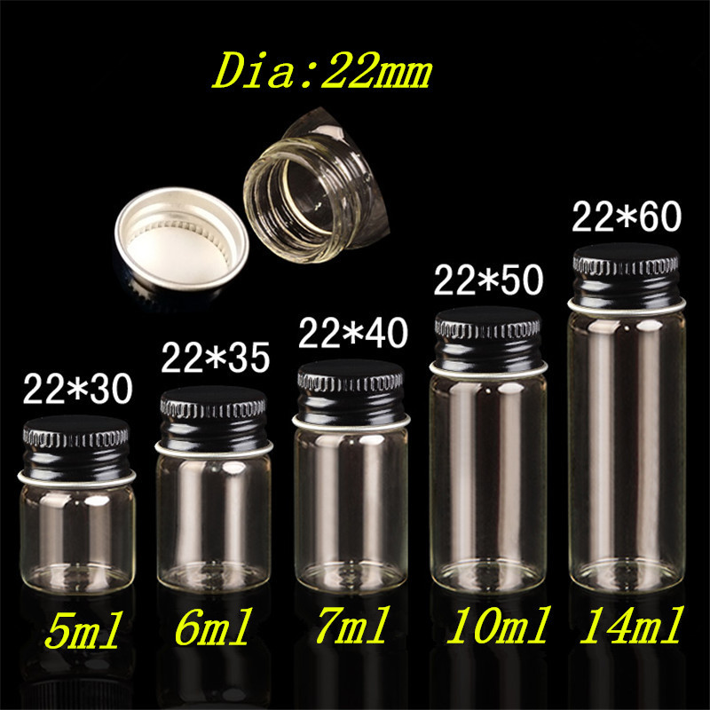Jars Containers Glass Bottles with Aluminium Cap Liquid Bottles Empty Glass 5ml 6ml 7ml 10ml 14ml Jewelry Packaging