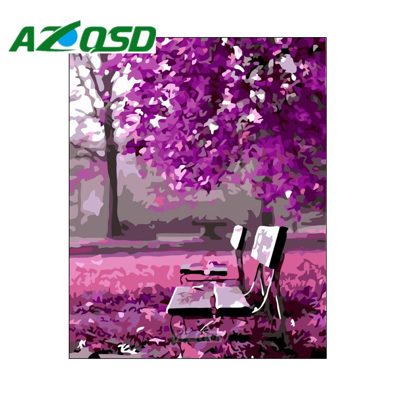 AZQSD Painting By Numbers 40x50cm Purple Forest Bench Oil Painting Picture By numbers On Canvas Home Decor szyh376