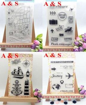 4 różne podróży łódź samolot przezroczysta pieczęć silikonowa/uszczelnienie do DIY scrapbooking/album fotograficzny dekoracyjne jasne pieczęć