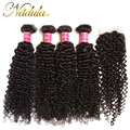 4 Bundles Indian Curly Weave Human Hair With Closure Nadula Hair Indian Curly Virgin Hair Extensions 7A Indian Virgin Hair