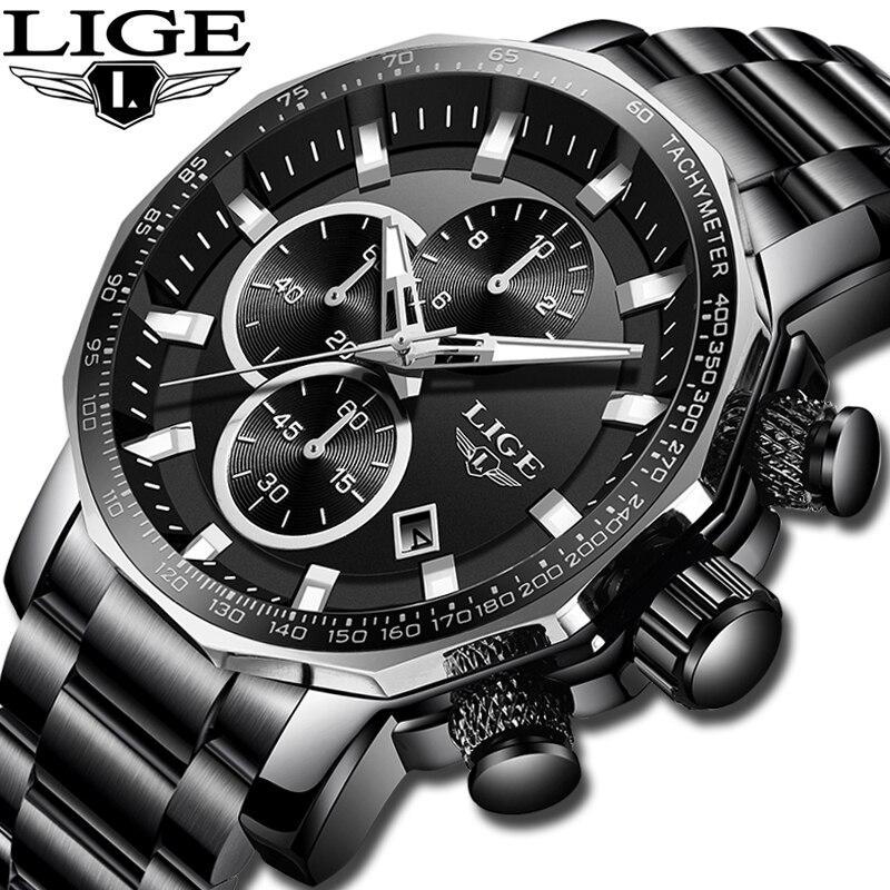 LIGE New Mens Watches Top Brand Luxury Full Steel Sport Chronograph Quartz Clock Military Waterproof Watch
