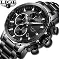 LIGE, новинка, мужские часы, Топ бренд, Роскошные, полностью стальные, спортивные, с хронографом, кварцевые часы, военные, водонепроницаемые ча...