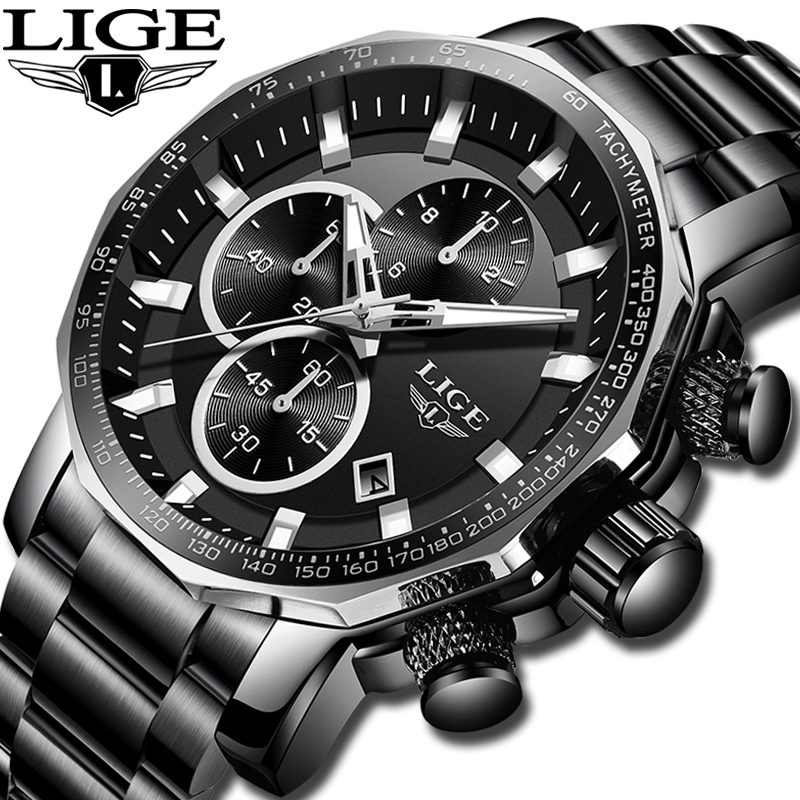 cc65c61ac LIGE New Mens Watches Top Brand Luxury Full Steel Sport Chronograph Quartz  Clock Military Waterproof Watch Men Relogio Masculino