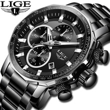 LIGE New Mens Watches Top Brand Luxury Full Steel Sport Chronograph Quartz Clock Military Waterproof Watch Men Relogio Masculino цена и фото