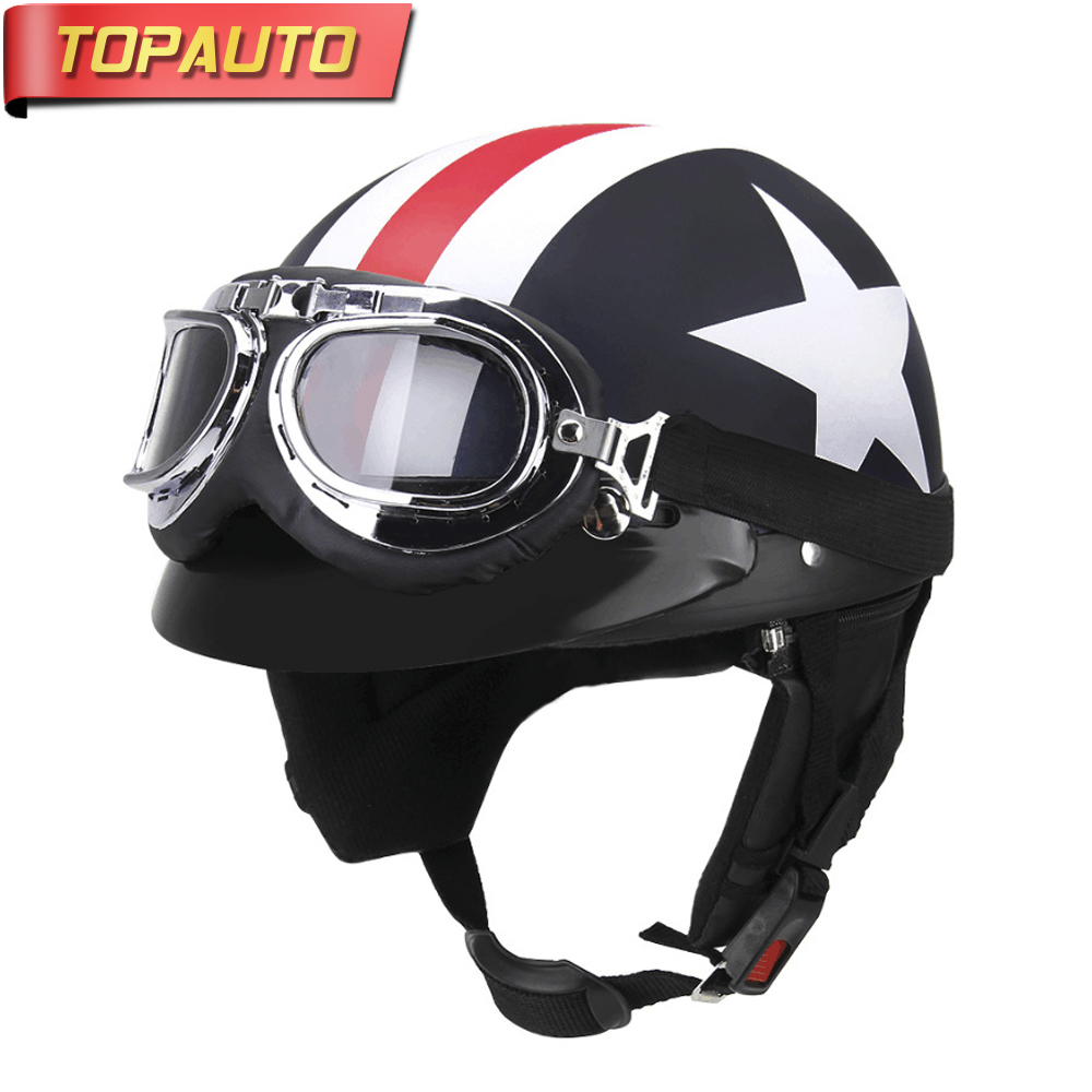TopAuto Motorcycle Helmet Moto Bike Open Half Face Racing Professional Adult Sport Moto Helmet Protective Gear Accessory Summer