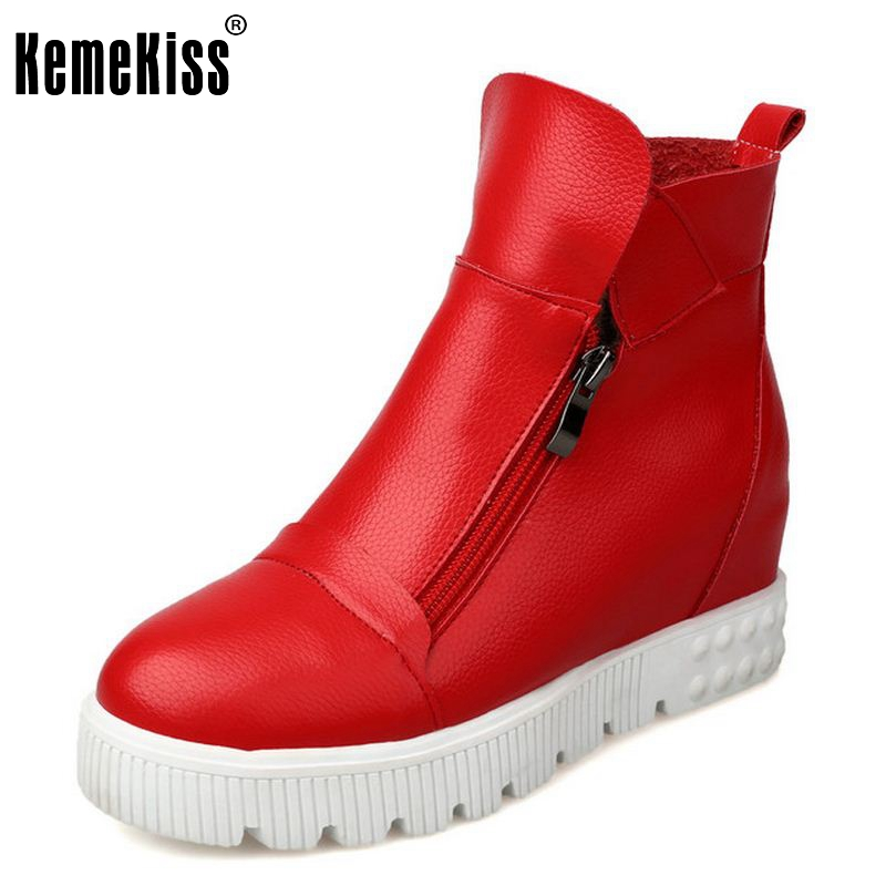 ФОТО women Wedges Ankle Boot Causal Shoes For Woman Winter Warm Zipper Women Shoes height increasing Botas Mujer Size 33-43