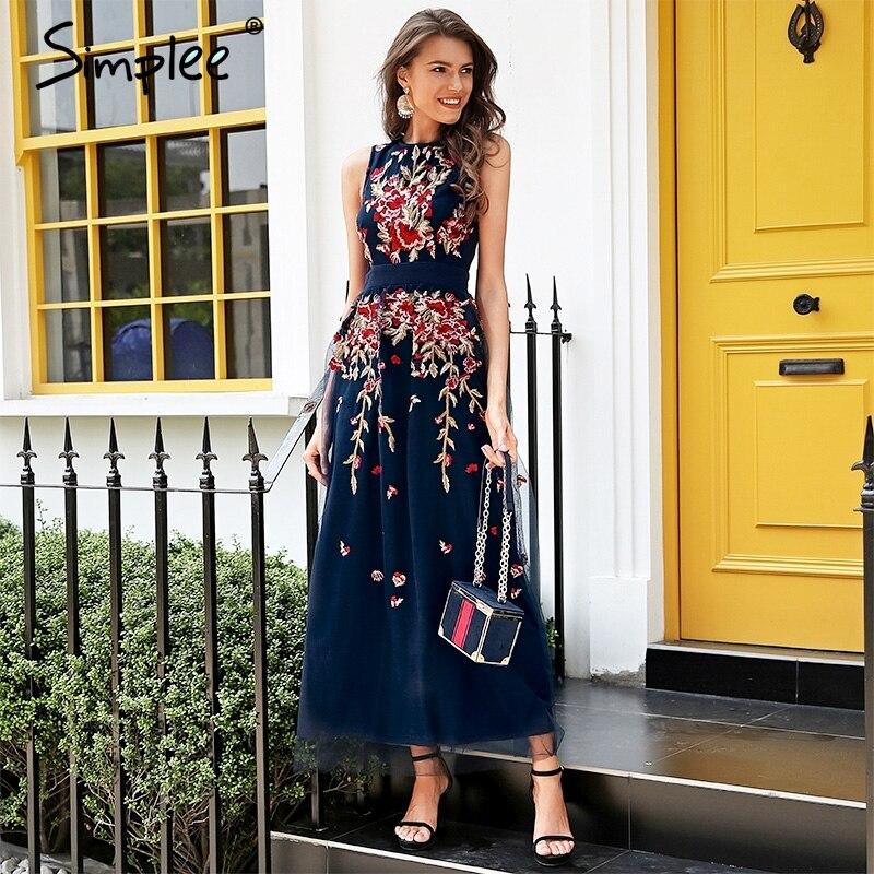 Simplee элегантный mesh overlay праздничное платье женские стрейч жилетка без рукавов длинное платье Лето 2018 вышивка черное платье роковой