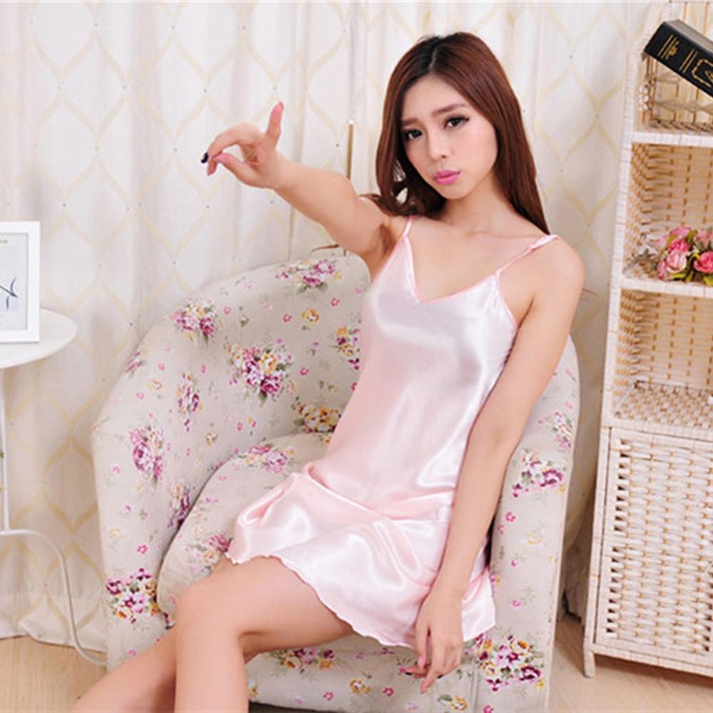 Sexy Nightwear Mini Nightgowns For Women Temptation Sleeveless Skirts Silk Satin Ladies Sleepwear Lingerie Plus Size Night Dress