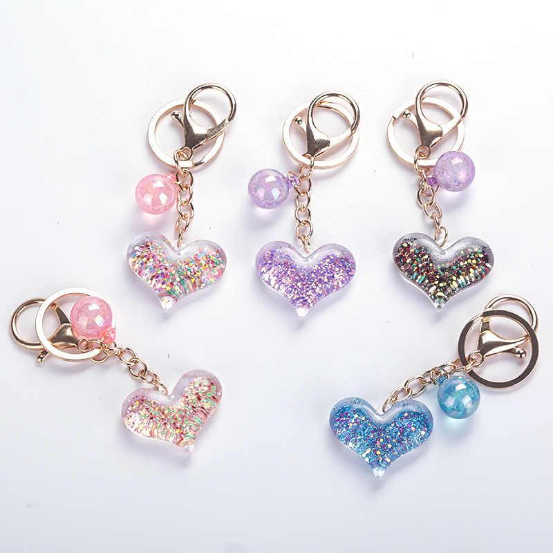 Mode paillettes étoile coeur porte-clés pour femmes pendentif Transparent Quicksand Sequin porte-clés PU corde amant voiture porte-clés cadeau