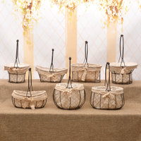 Handmade Iron Storage Basket Woven Flower Box Pot Natural Seagrass Garden Planter Desk Trash Bin Wicker Baskets M $