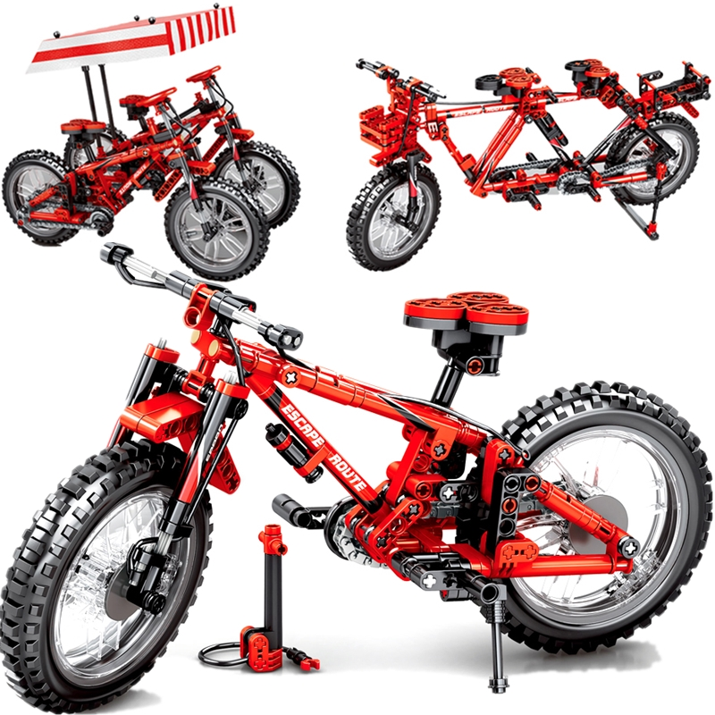 MOC City 2in1 3D Mountain Bicycle Double Variable speed mtb bike Motorcycle Building Blocks Sets Kits Bricks Kids Compatible image