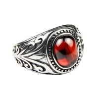 حقيقي 925 فضة مجوهرات خواتم فخمة للرجال منقوش الزهور مع الأسود onxy العقيق الأحمر الحجر الطبيعي غرامة مجوهرات