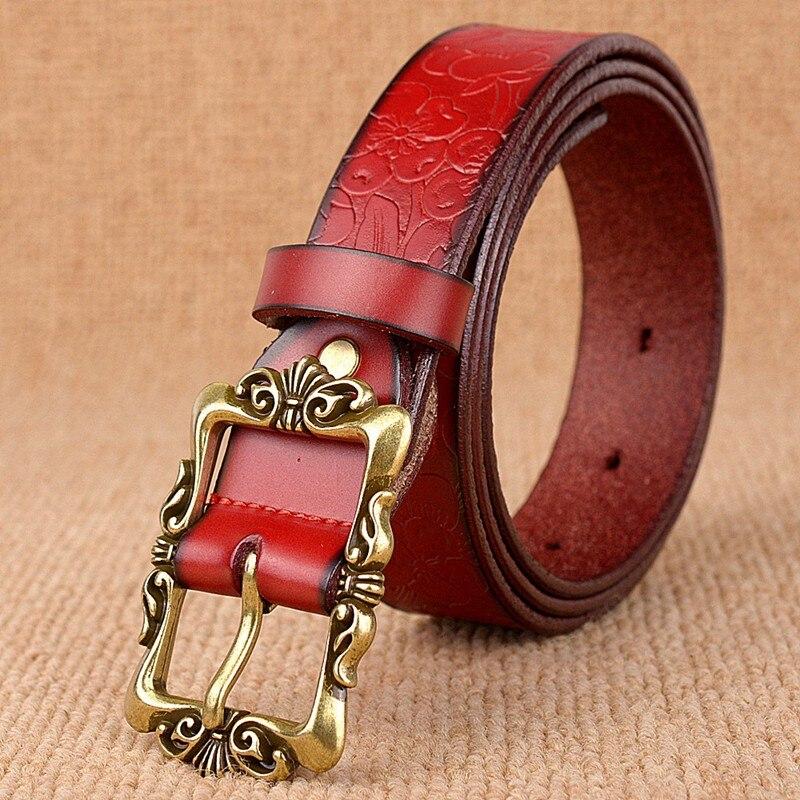 Heißer Verkauf 6 Farben Echtes Leder Frauen Gürtel Mode Vintage - Bekleidungszubehör - Foto 5