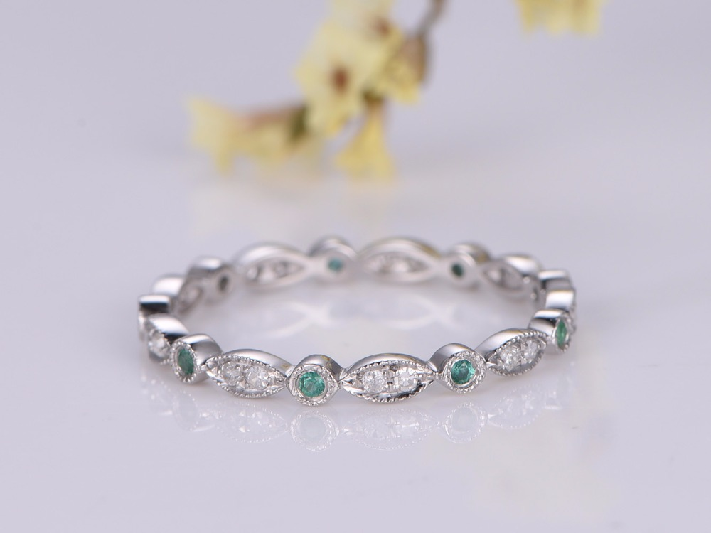 MYRAY Natural Emerald Wedding Bands Engagement Ring Wedding Ring in Gold Full Eternity Band Milgrain Diamonds Rings