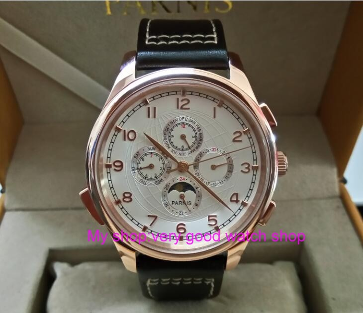 лучшая цена 44MM PARNIS Automatic Self-Wind movement white dial multi-funtion men's watch Mechanical watches pvd Rose gold case 294A