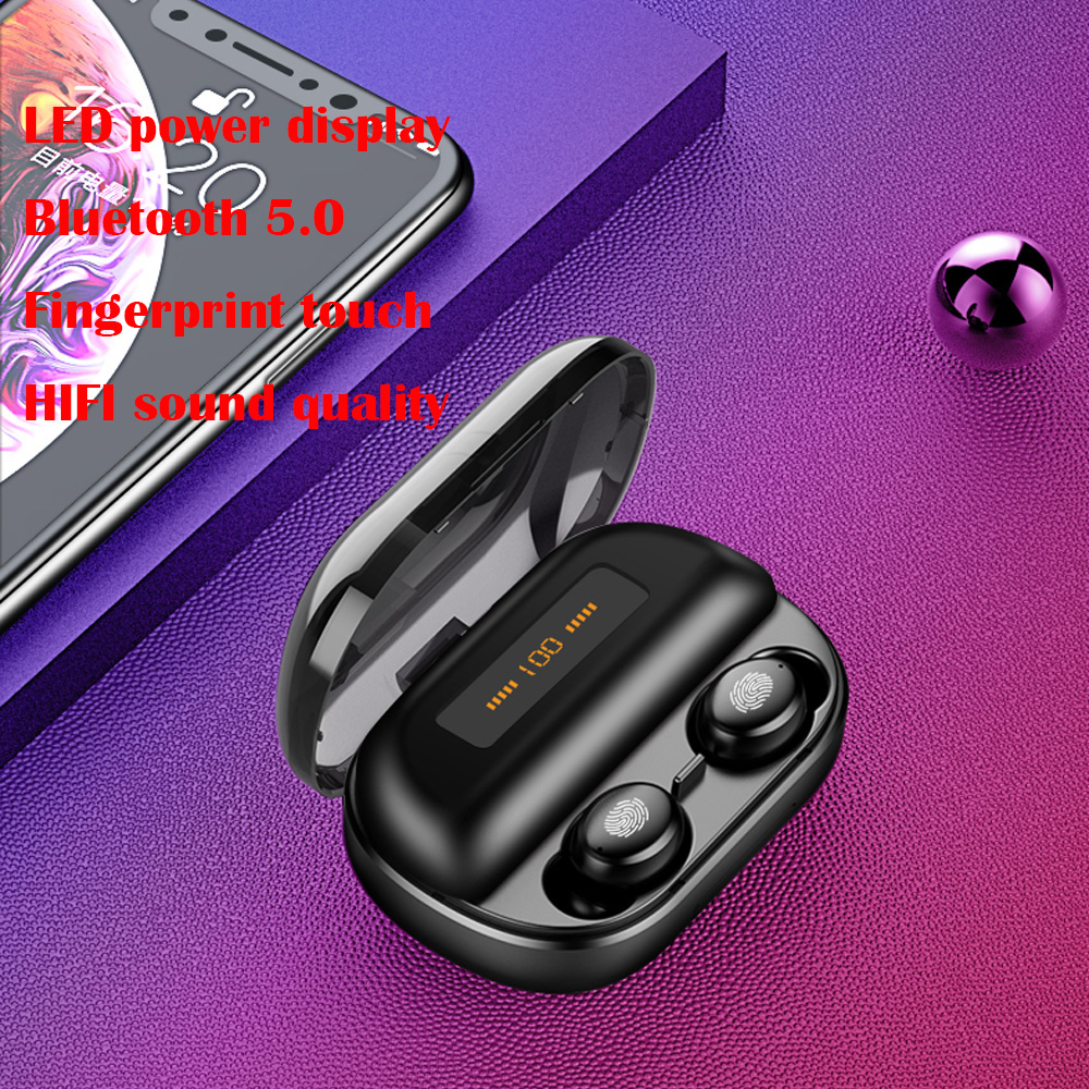 Power display 5.0 Hifi headphone Dual Ear Bluetooth Headset Stereo Phone charger Touch Control Wireless Bluetooth Headset