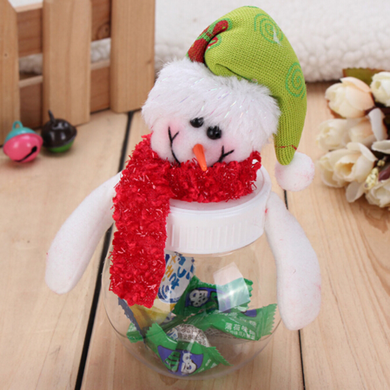 Christmas Santas Snowman Plastic Storage Box Candy Dry Dried Food Clear Cereal Container Kitchen In Bottles Jars