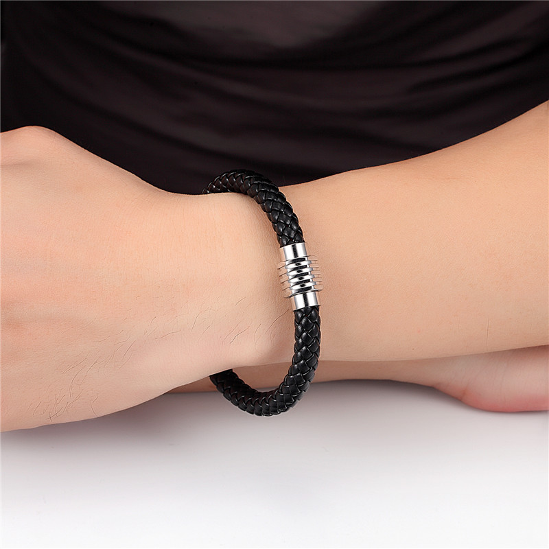 MKENDN Black Braid Genuine Leather Bracelet Bangle Stainless Steel Magnet Buckle LGBT Dublin Pride Party Jewelry