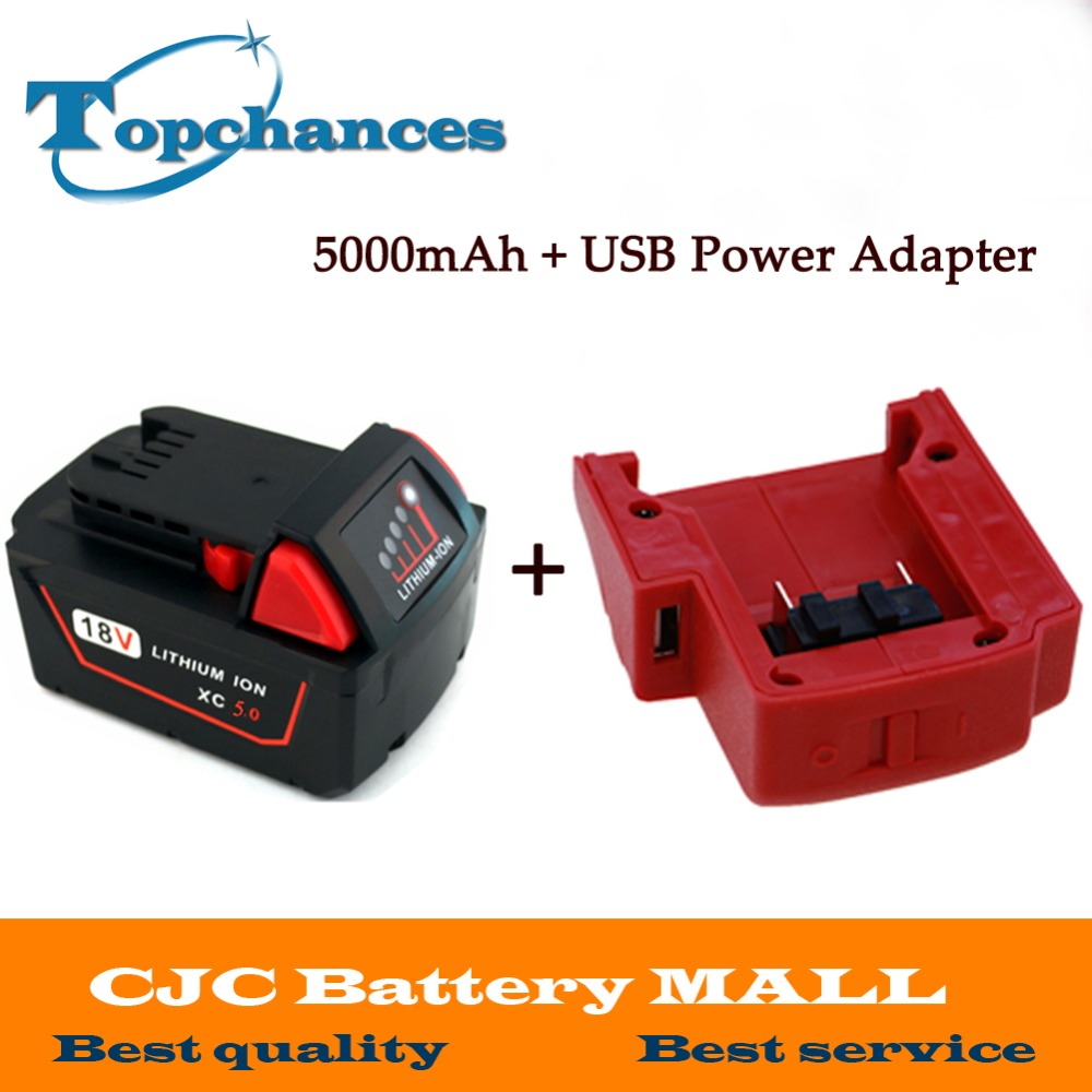 18V 5000mAh Li-Ion Replacement Power Tool Battery for Milwaukee M18 XC 48-11-1815 M18B2 M18B4 M18BX M18BX + USB Power Source