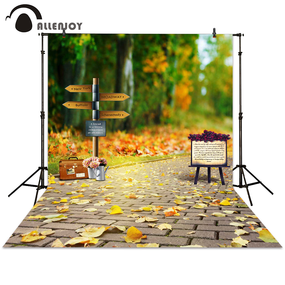 Allenjoy photography background sign leaves brick bokeh autumn street backdrops photocall photographic photo studio allenjoy photo backdrops christmas tree bokeh wooden floor photography backgrounds photocall photographic photo studio
