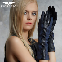 FIORETTO Genuine Leather Gloves With Blue Water Lines F15548