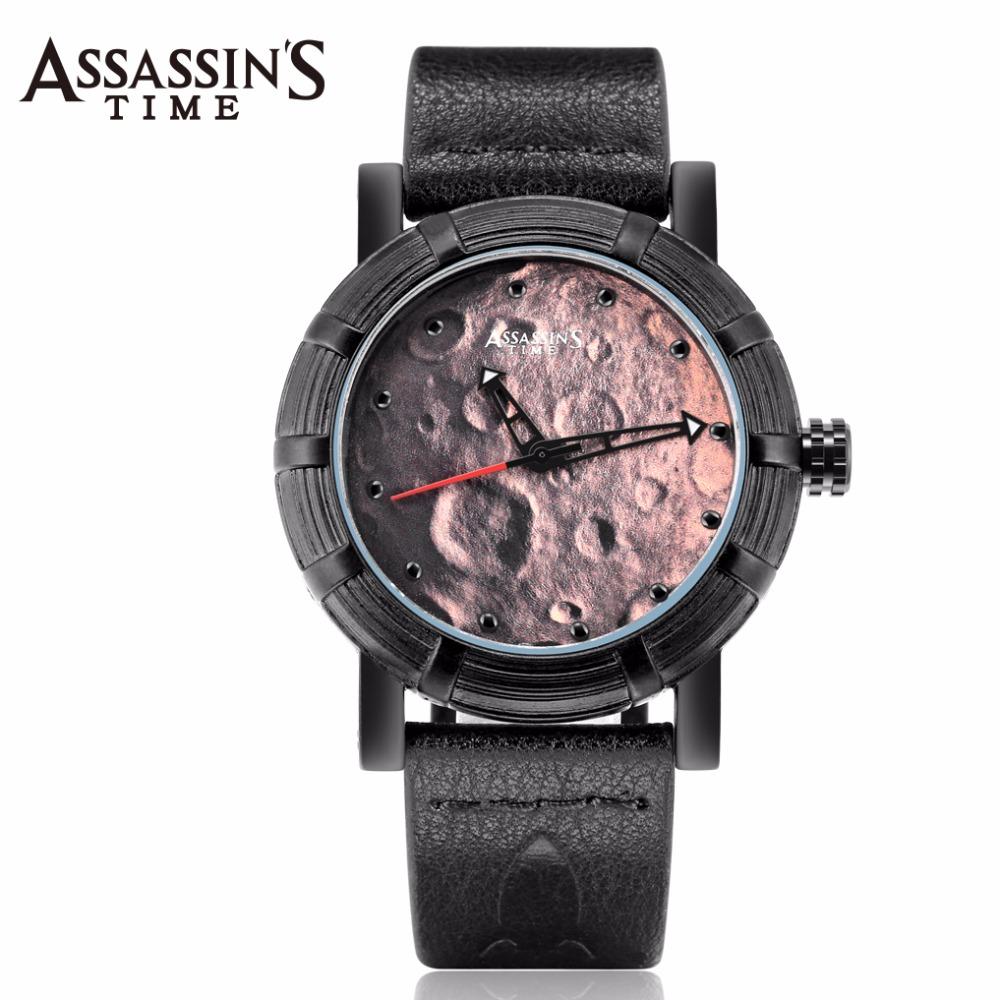 Assassin's Time Men's Watch Japan Quartz Lunar Man Hours Punk Moon Fine Fashion Clock Genuine Leather Boy's Birthday Gift