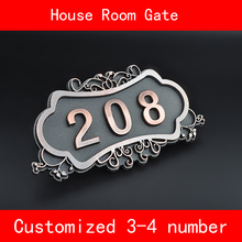 Number of House Room Gate European Style Classic Brone Like ABS Custom-made 3 to 4 Numbers Customized Hotel Door Plate Hotel custom made halo lit address numbers