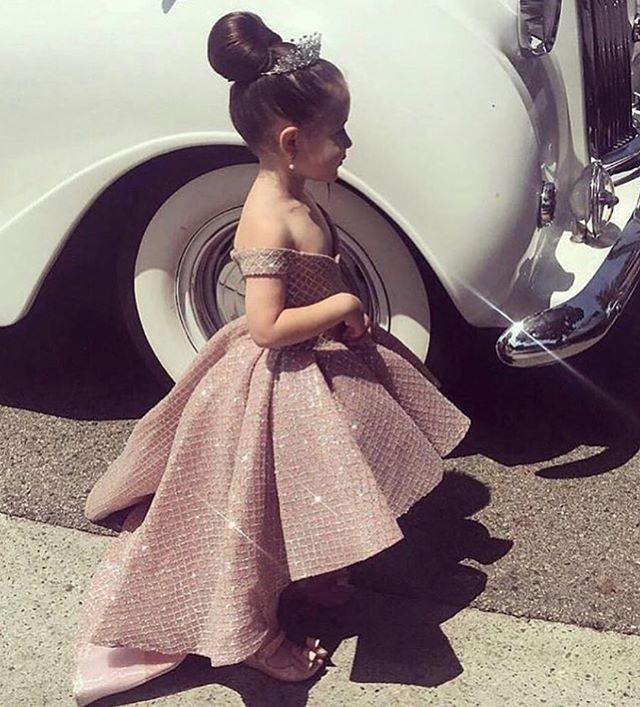 Off Shoulder Rose Pink Girls Pageant Dresses Short Front Long Back Sequin Shiny Kids Child Formal Party Prom Gowns 2019 New