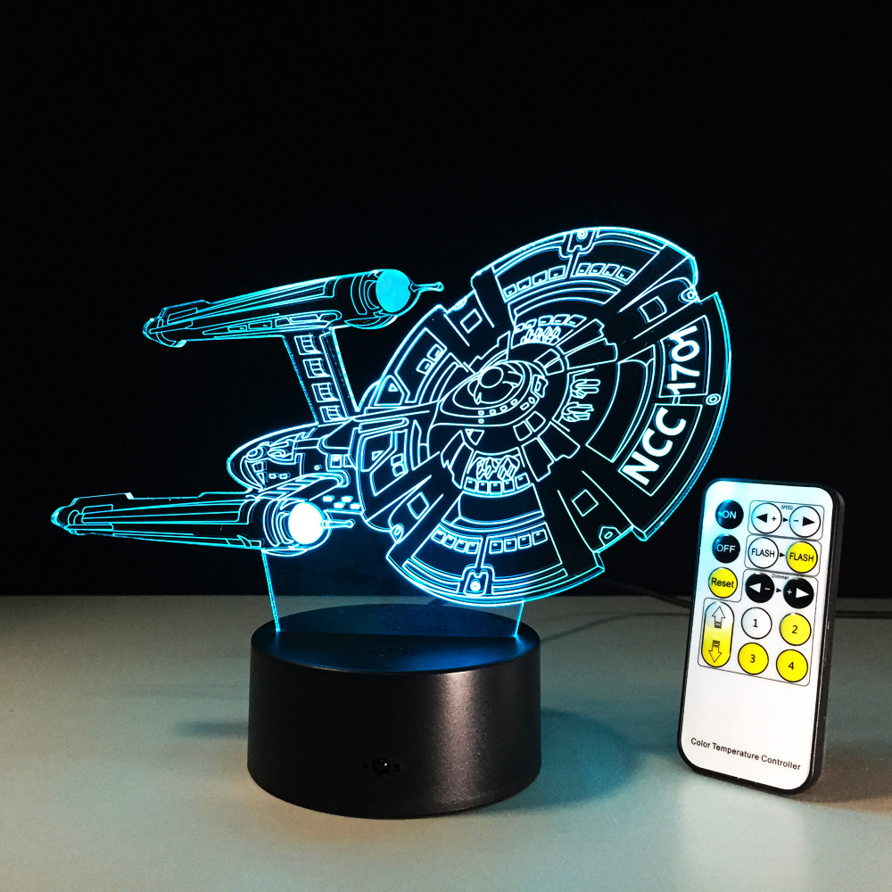 Figura de Star Trek 3D Led lámpara de luz nocturna nave espacial colorida USB LED acrílico iluminación Star Trek figura de acción